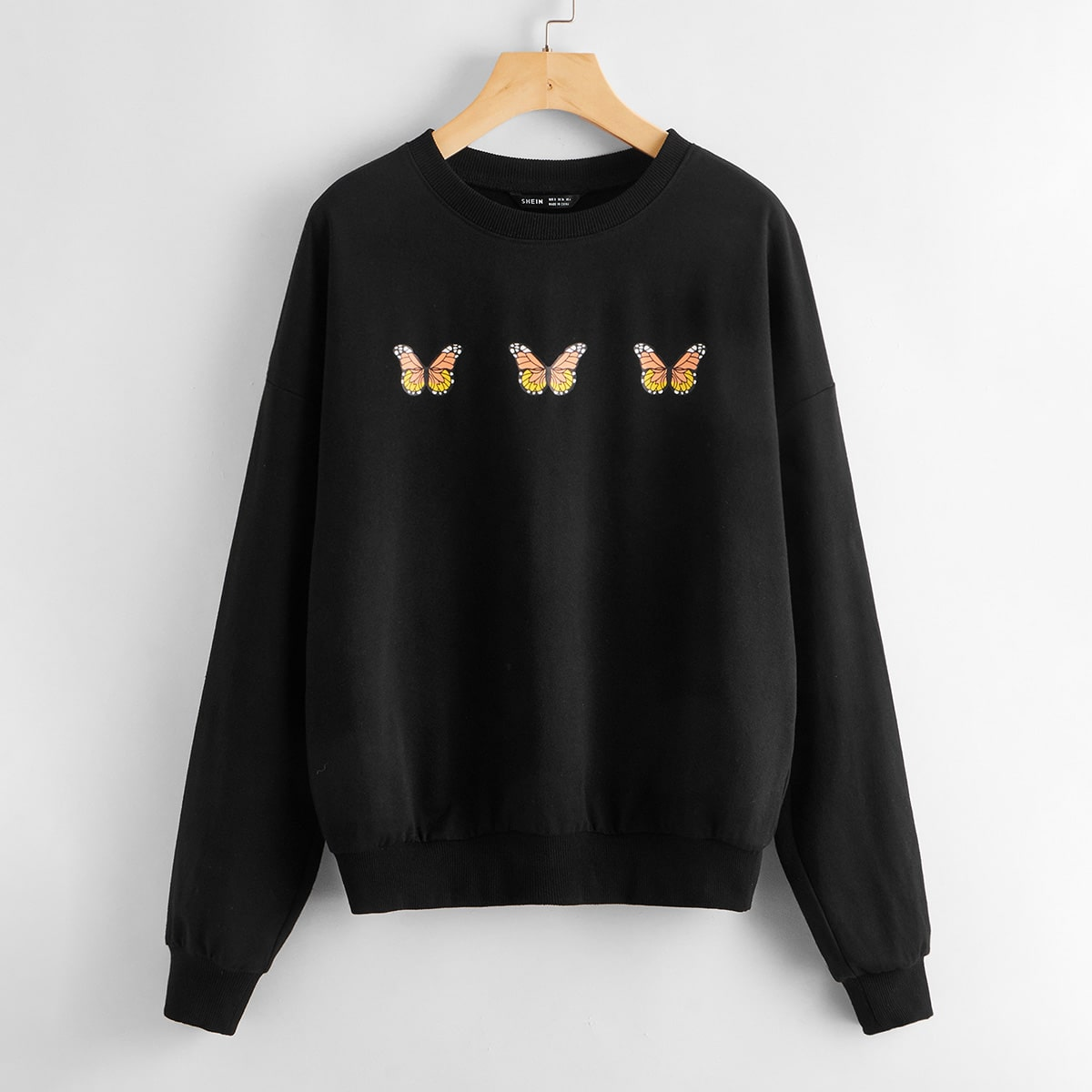 SHEIN / Butterfly Print Drop Shoulder Pullover