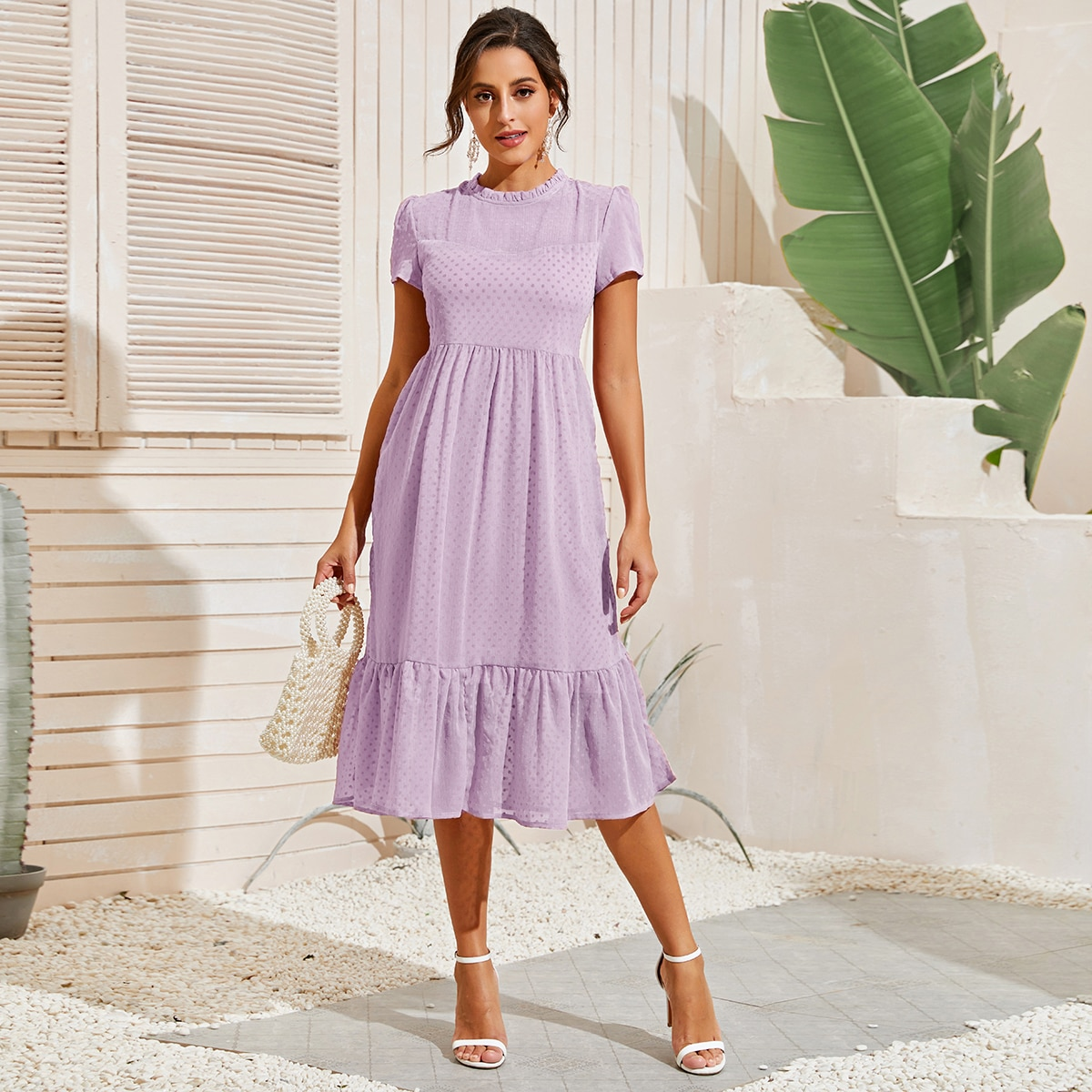 Сиреневый Фиолетовый Низ-оборка Одноцветный Элегантный Платья фото