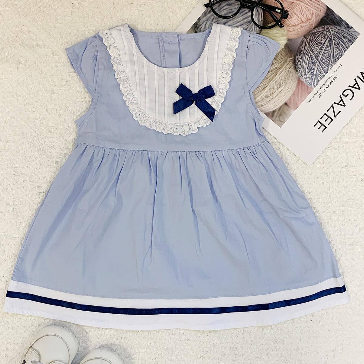 shein Schattig Kleurblok Baby-jurk Strik Vooraan