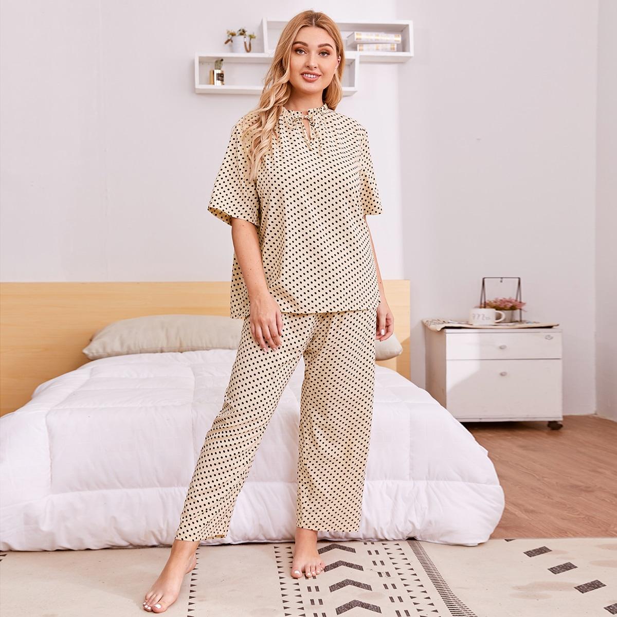 Aбрикосовый Оборка В горошек Повседневный Пижама размер плюс фото