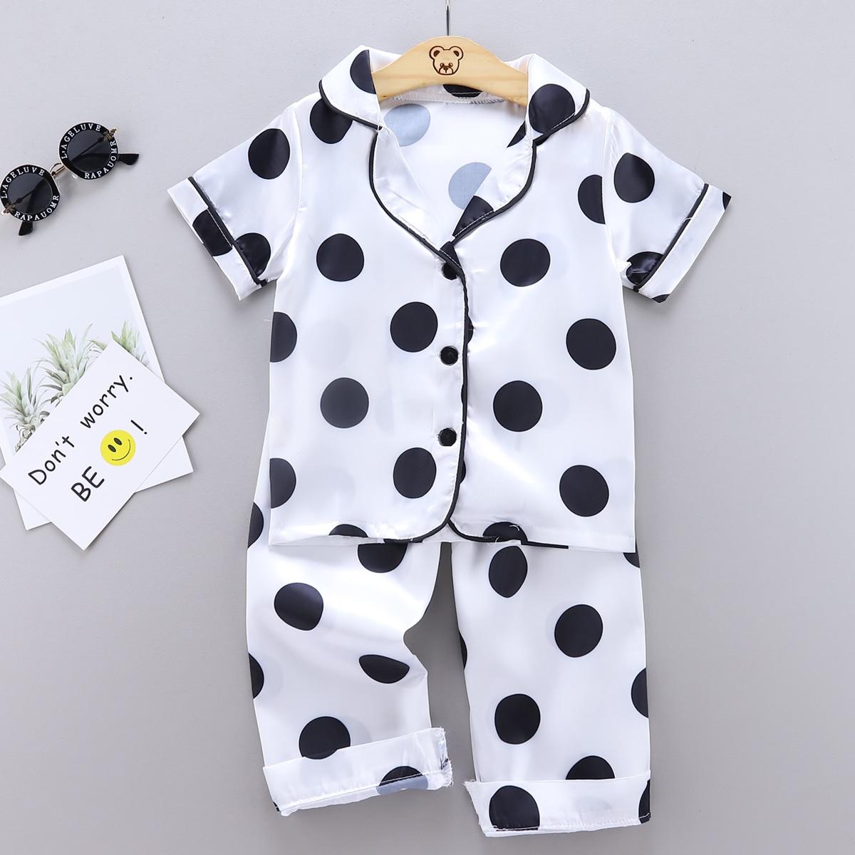 Белый Однобортный В горошек Повседневный Домашняя одежда для мальчиков от SHEIN
