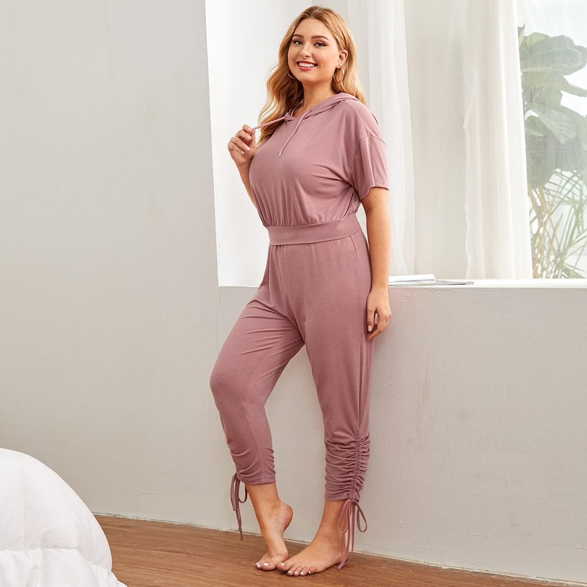 Пыльный Розовый на кулиске Одноцветный Повседневный Пижама размер плюс фото