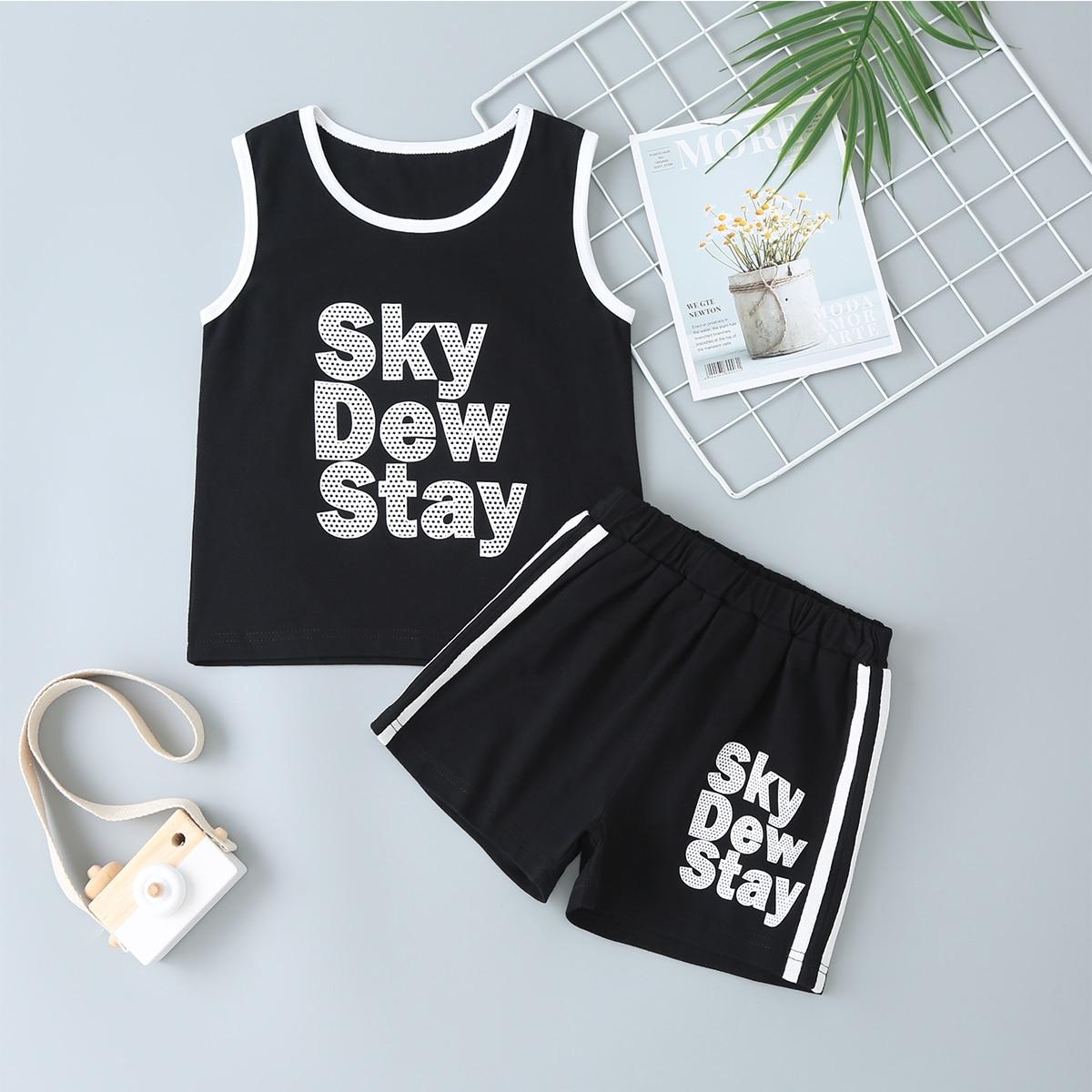 Черный Боковая полоса Полосатые изображения Спортивный Комплекты для мальчиков от SHEIN