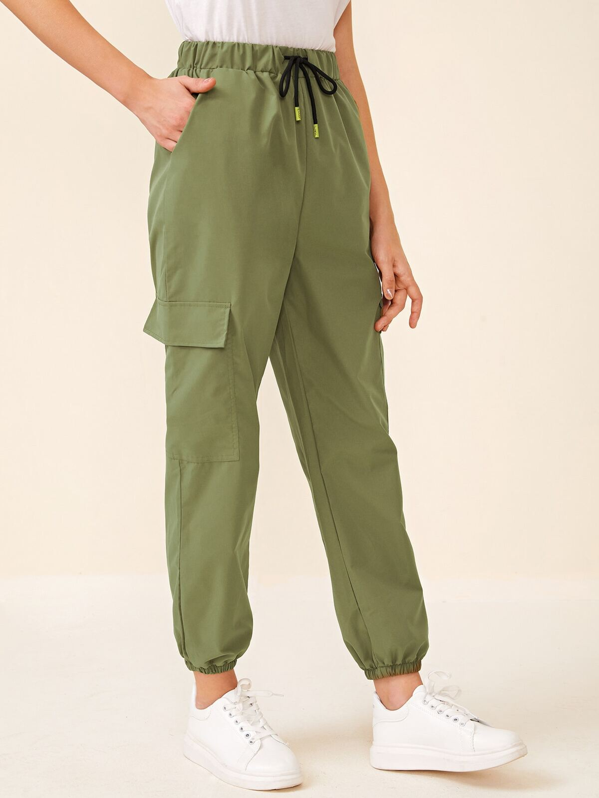 Flap Pockets Drawstring Waist Cargo Pants