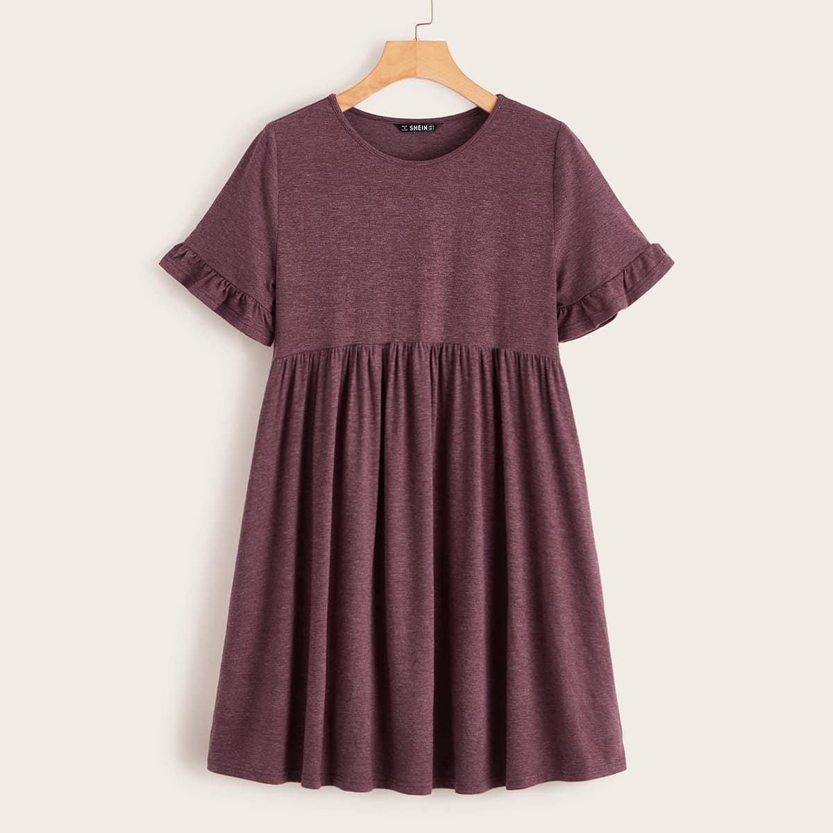 Короткое Трикотажное Платье С Оборками Image