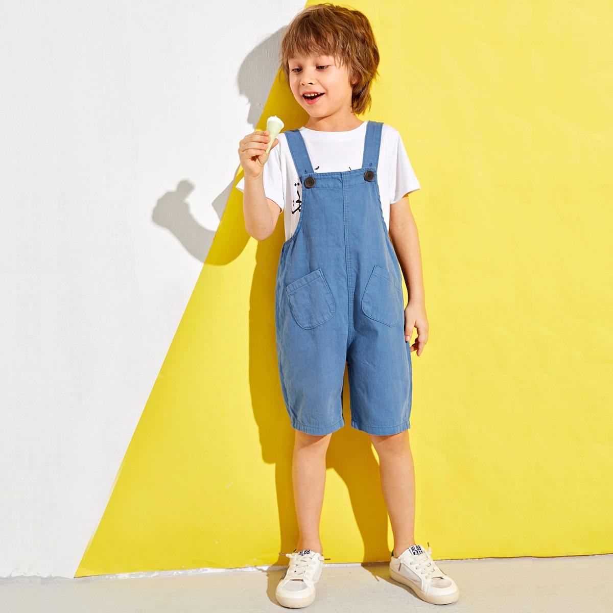 Синий на пуговицах Одноцветный Институтский Комбинезоны для мальчиков от SHEIN