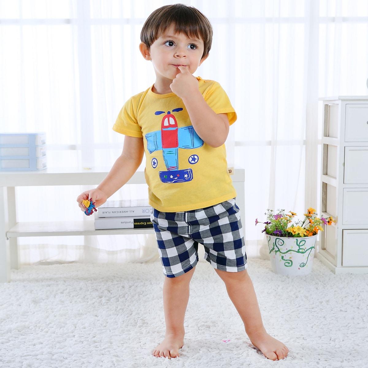 многоцветный Клетка милый Домашняя одежда для мальчиков от SHEIN