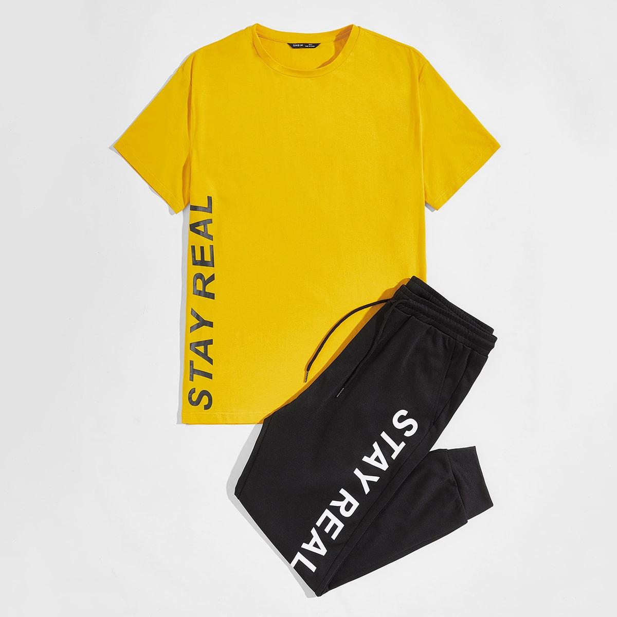 Мужской топ с текстовым принтом и спортивные брюки фото