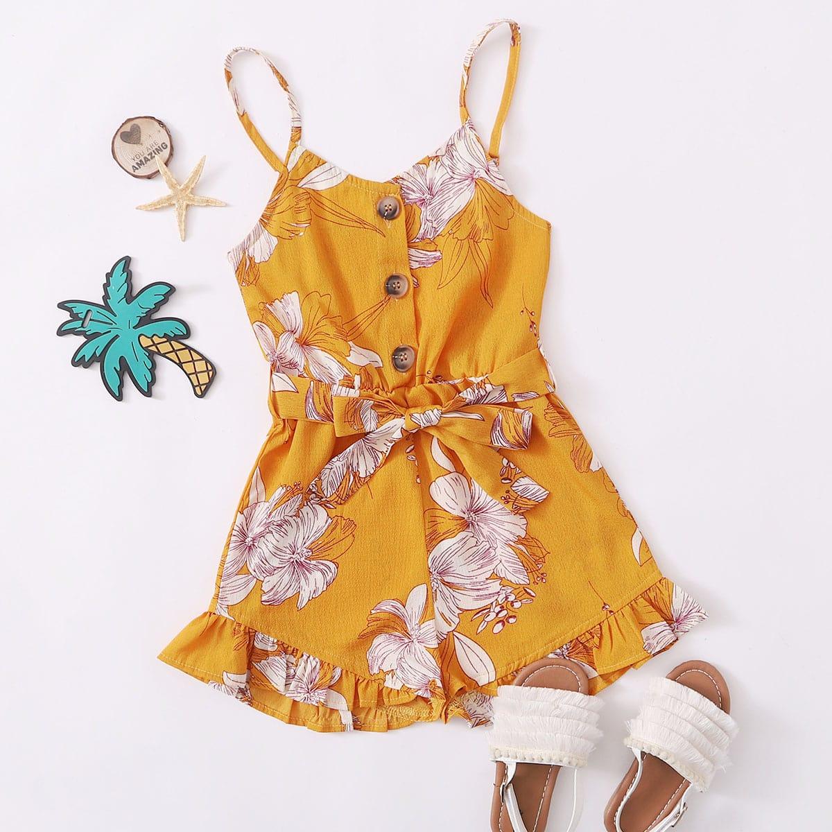 Комбинезон с цветочным принтом, пуговицами и поясом для девочек фото