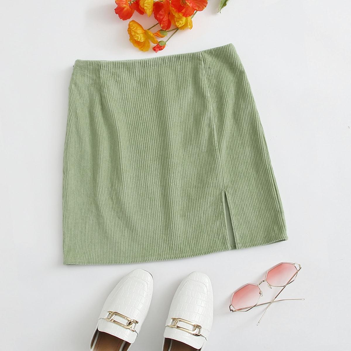 SHEIN / Split Hem Cord Skirt