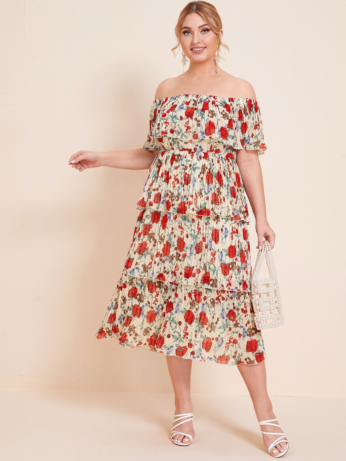 Plus Flounce Off Shoulder Layered Pleated Dress