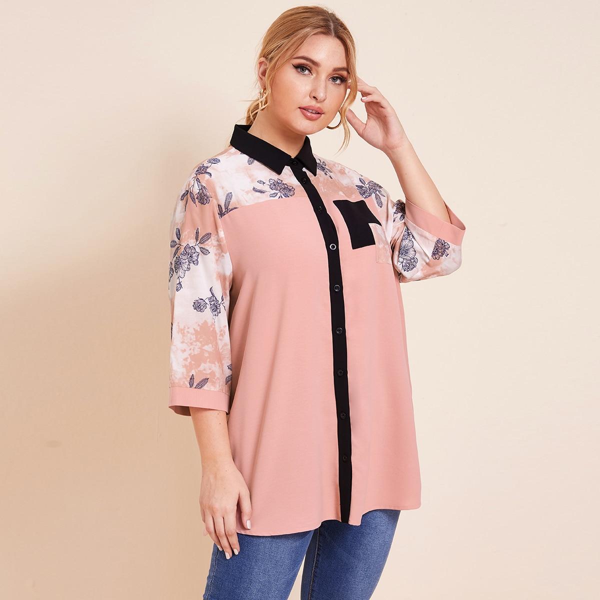 SHEIN / Camisa túnica floral con parche de cuello en contraste
