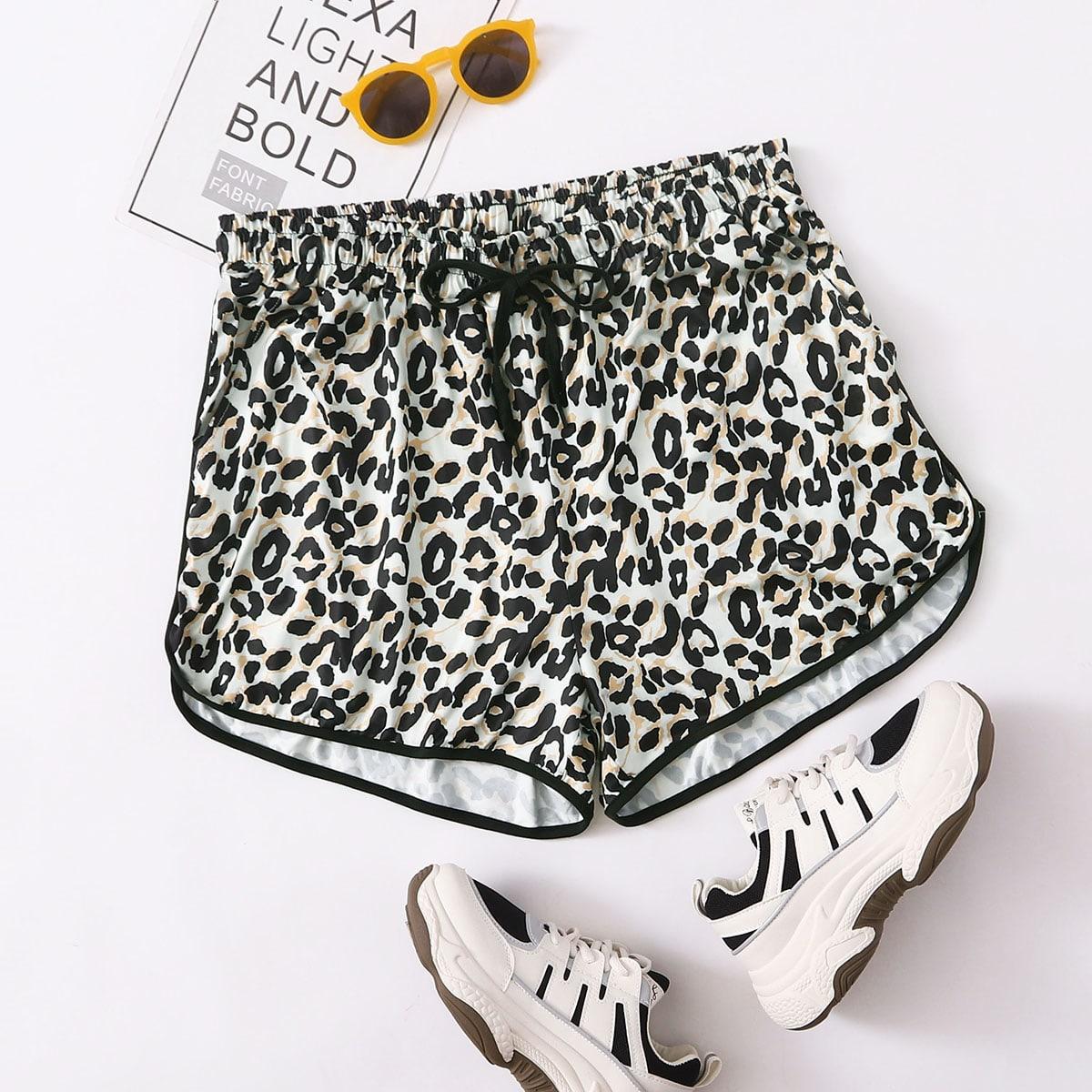 SHEIN / Shorts Tallas Grandes Ribete en contraste Leopardo Multicolor Deportivo