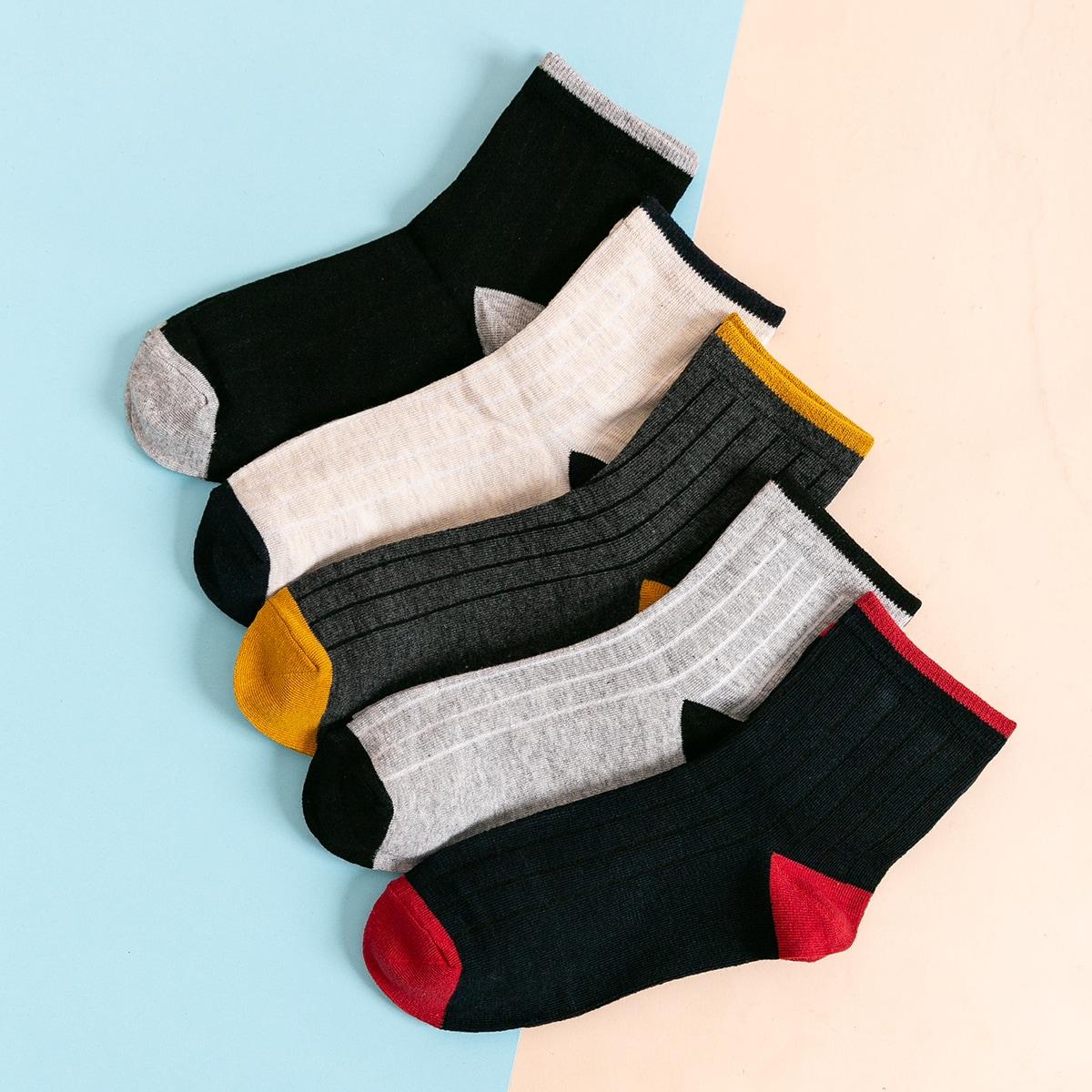 Мужские контрастные носки 5 пар