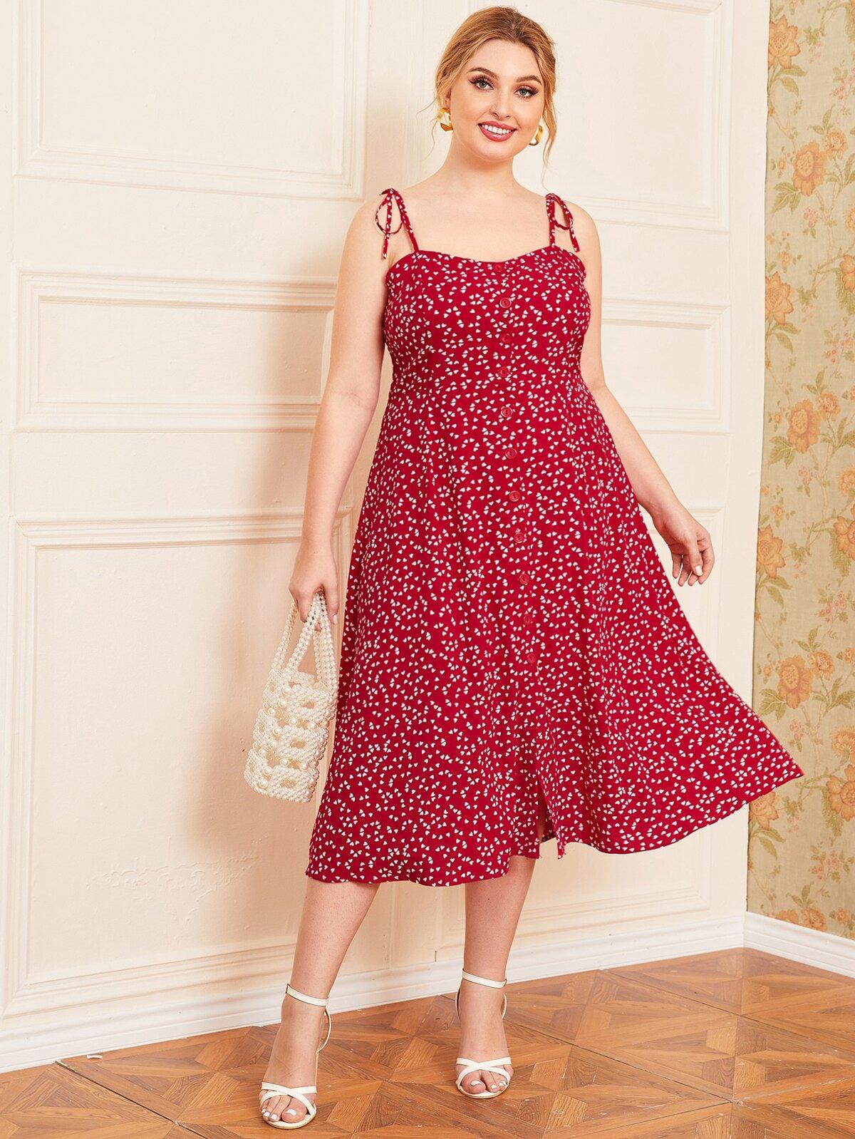 Plus Knot Strap Allover Heart Print Cami Dress