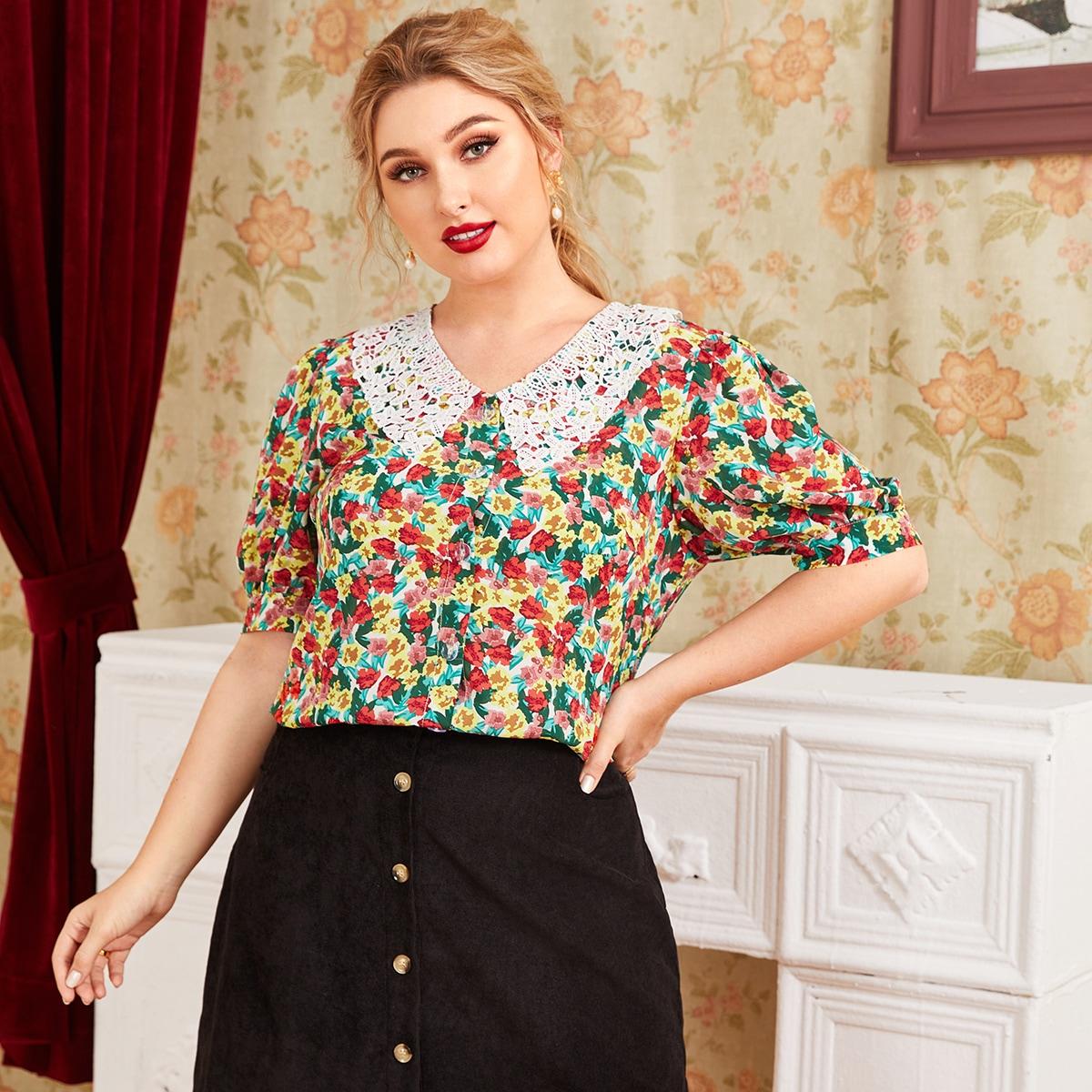 SHEIN / Blusas Extra Grandes Encaje en contraste Floral Multicolor Retro