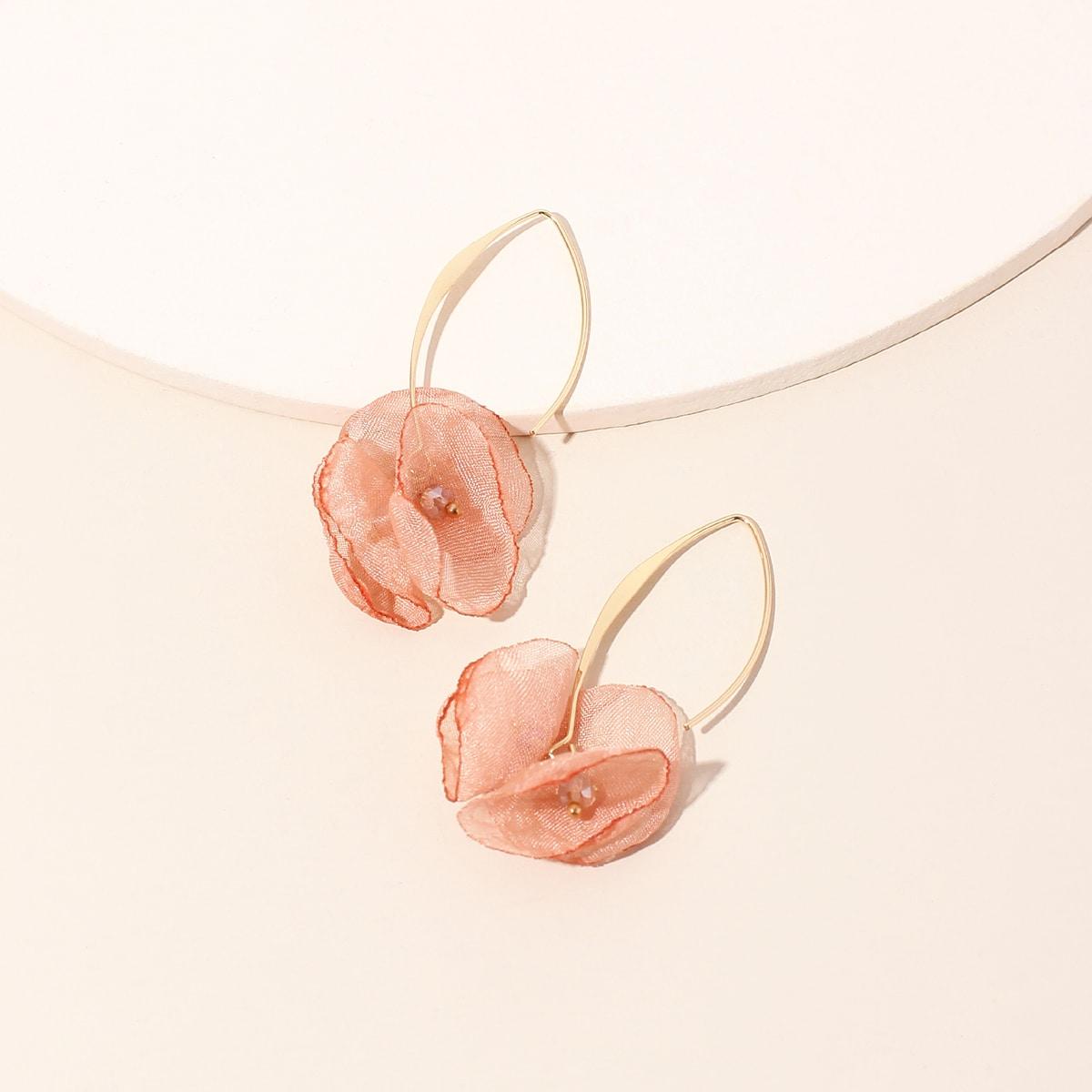 Серьги-подвески с цветком фото