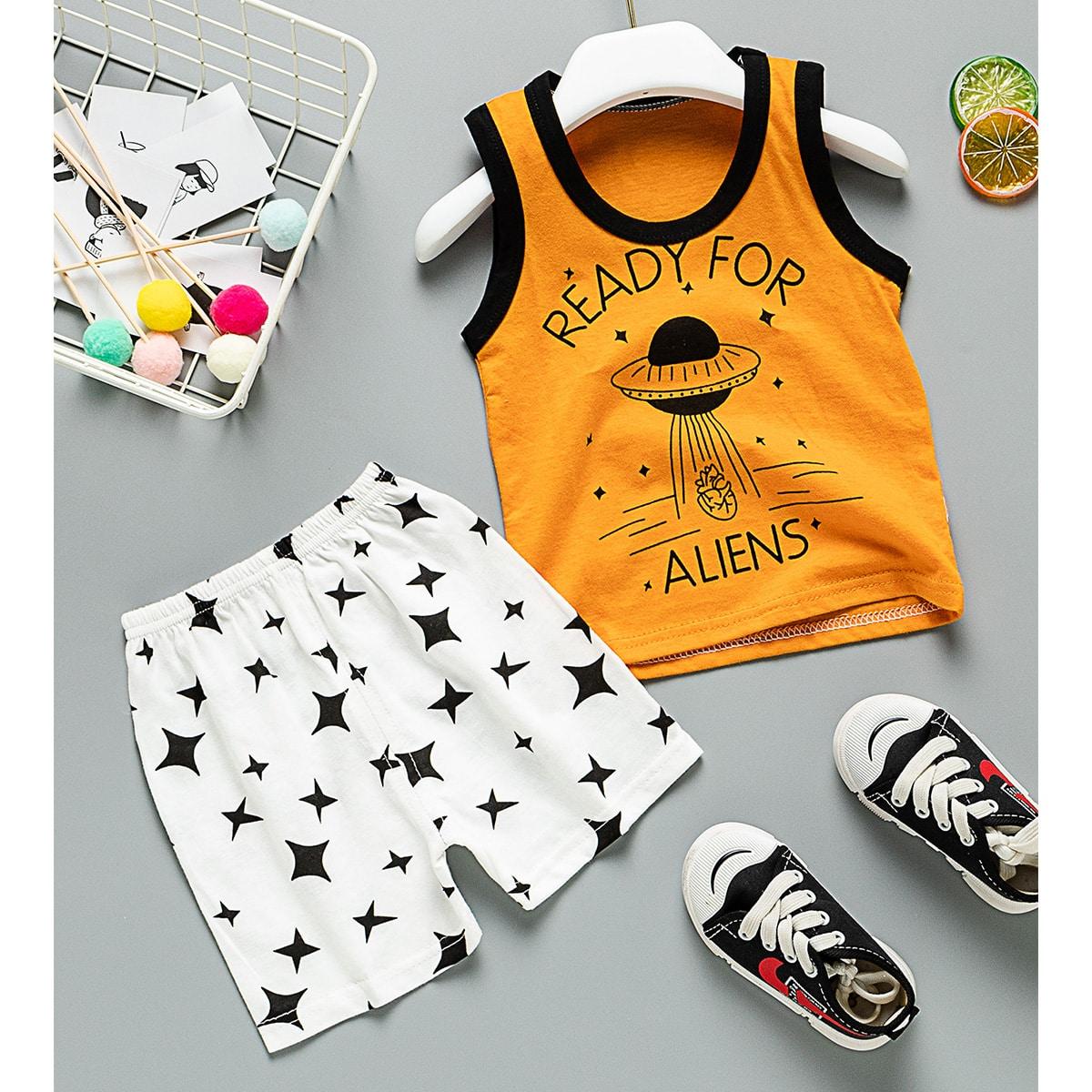 Многоцветный Контрастная отделка Геометрическое тело Спортивный Комплекты для мальчиков от SHEIN