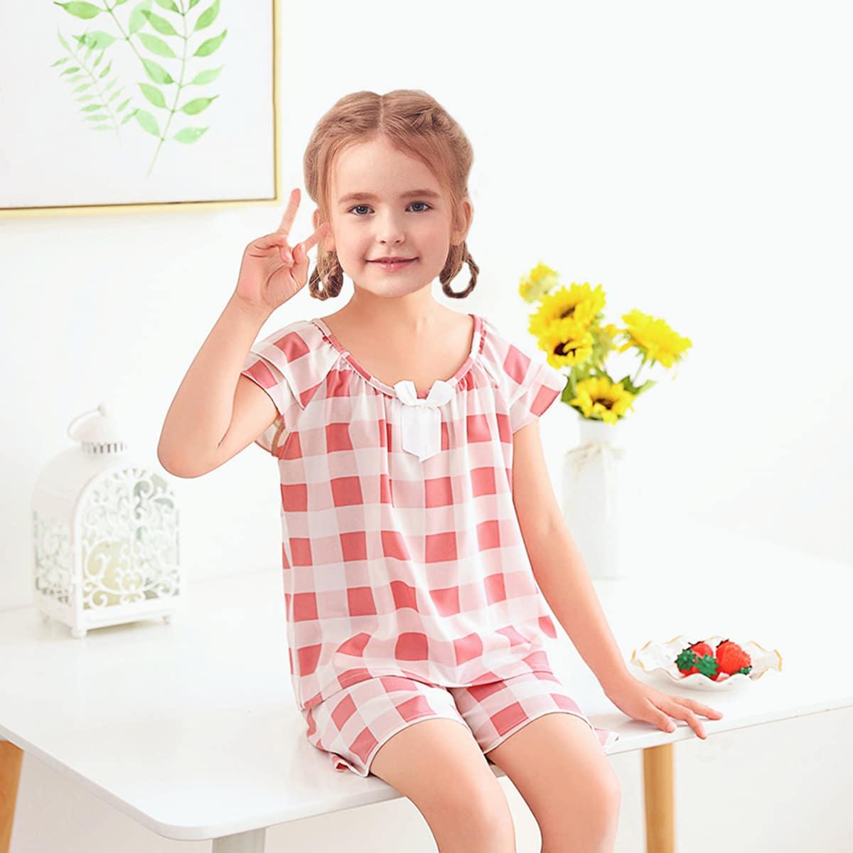 многоцветный с бантом Клетка милый Домашняя одежда для девочек от SHEIN