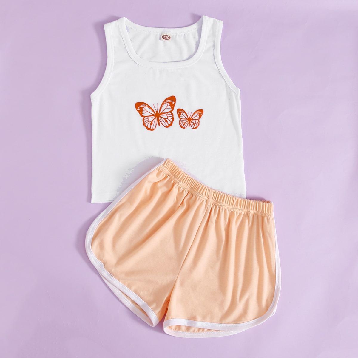 многоцветный Контрастная отделка Животный принт Спортивный Домашняя одежда для девочек от SHEIN