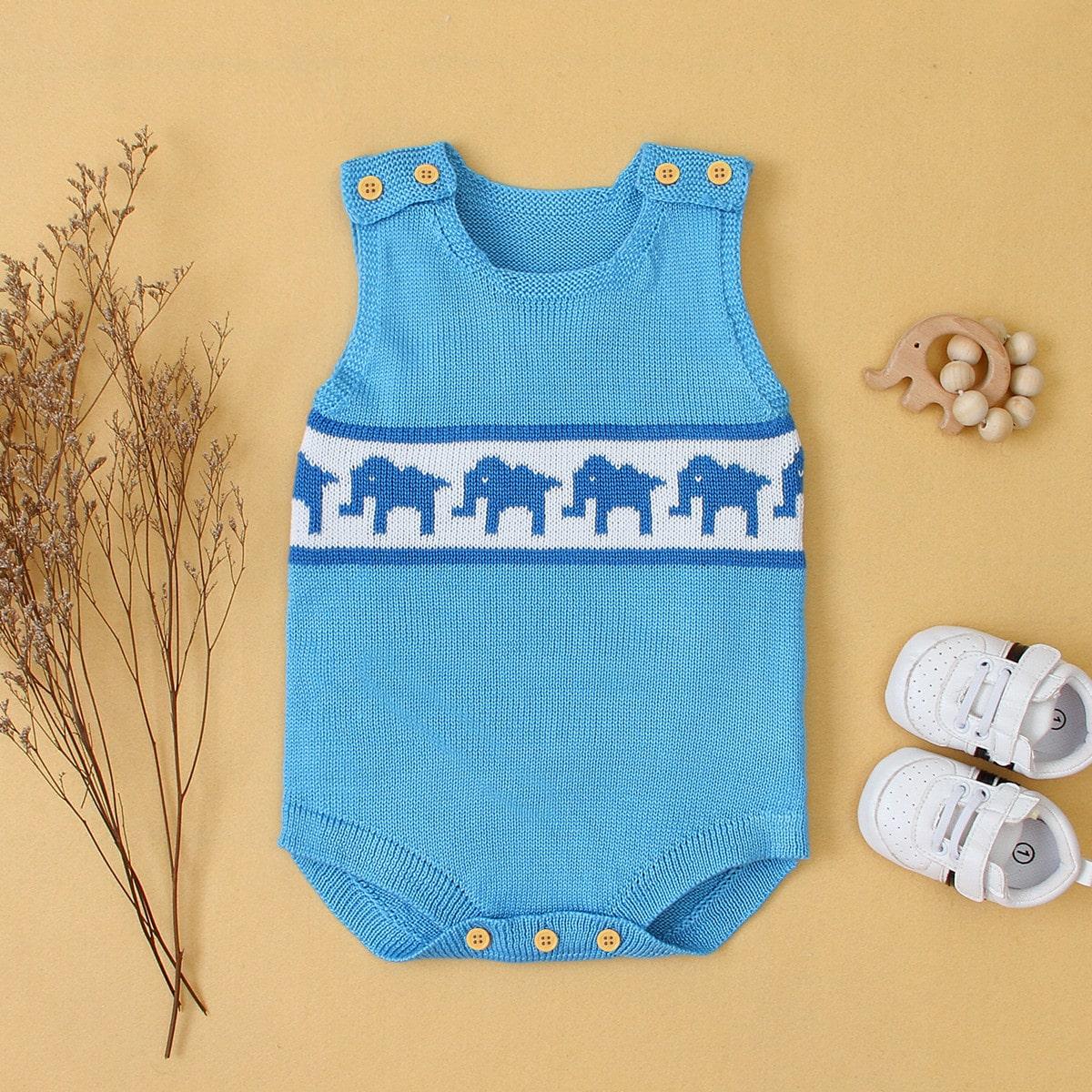 Синий Мультяшный принт Повседневный Боди для малышей фото