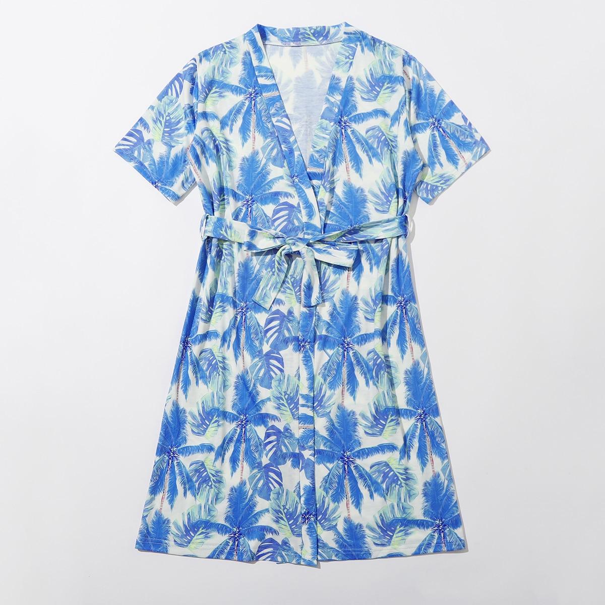 с поясом Тропический Повседневный Домашняя одежда для мальчиков от SHEIN
