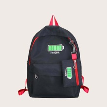 2pcs Kids Pocket Front Backpack With Purse (skbag18200623316) photo