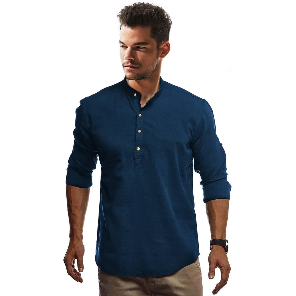 Темно-синий Однобортный Одноцветный Повседневный Мужские рубашки фото