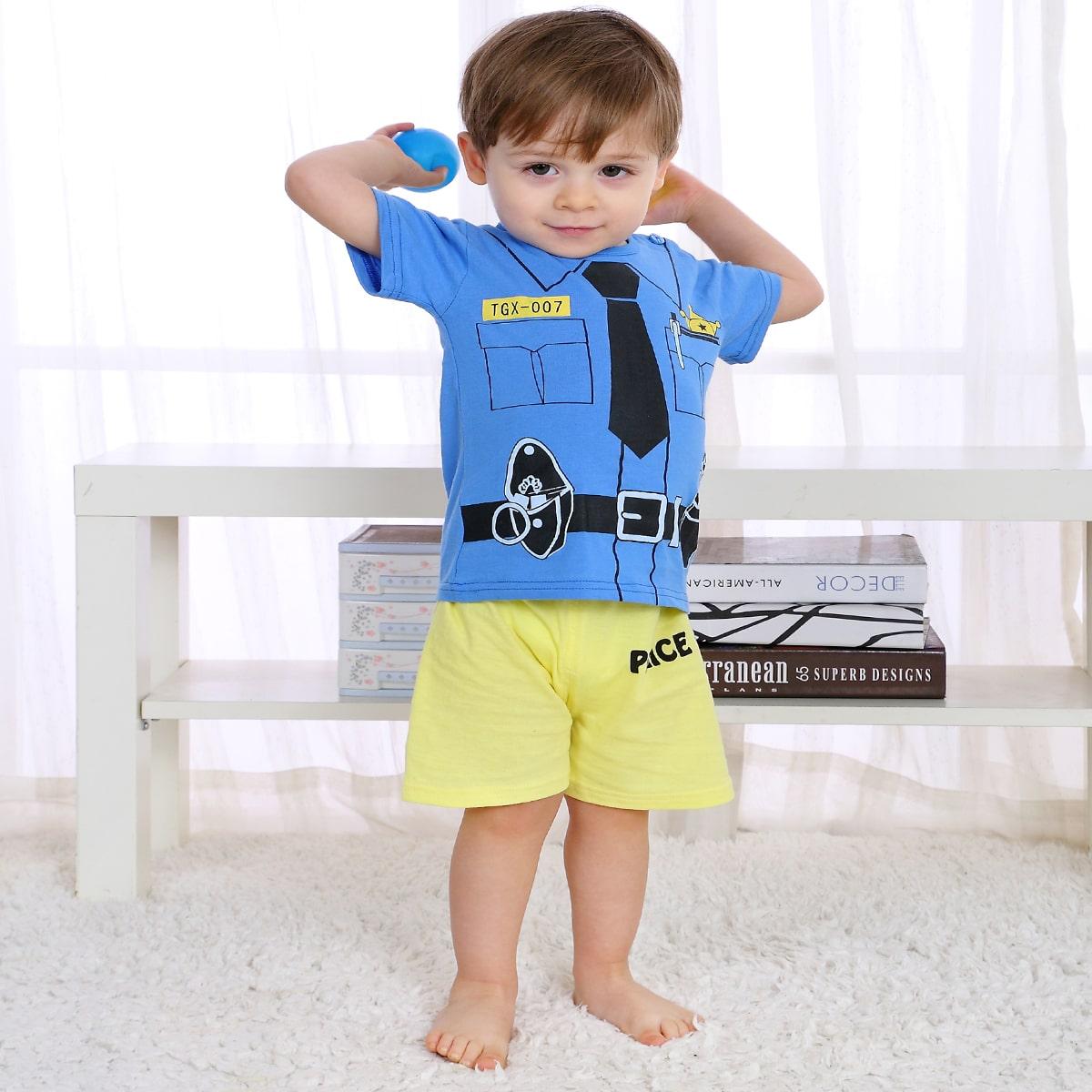 многоцветный Текст Повседневный Домашняя одежда для мальчиков от SHEIN