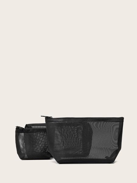 3pcs Clear Mesh Makeup Bag Set