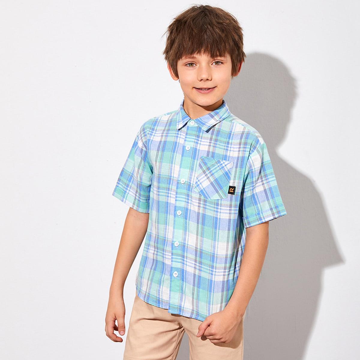 Рубашка в клетку с карманом для мальчиков от SHEIN