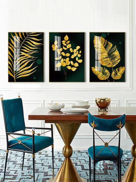 3pcs Leaf Print Wall Painting Without Frame