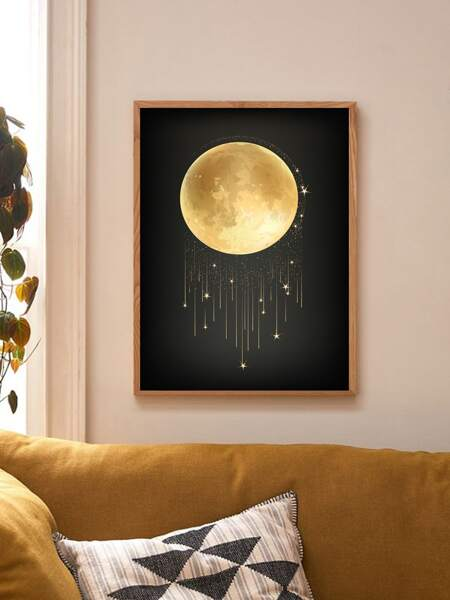 Moon Print Wall Painting Without Frame