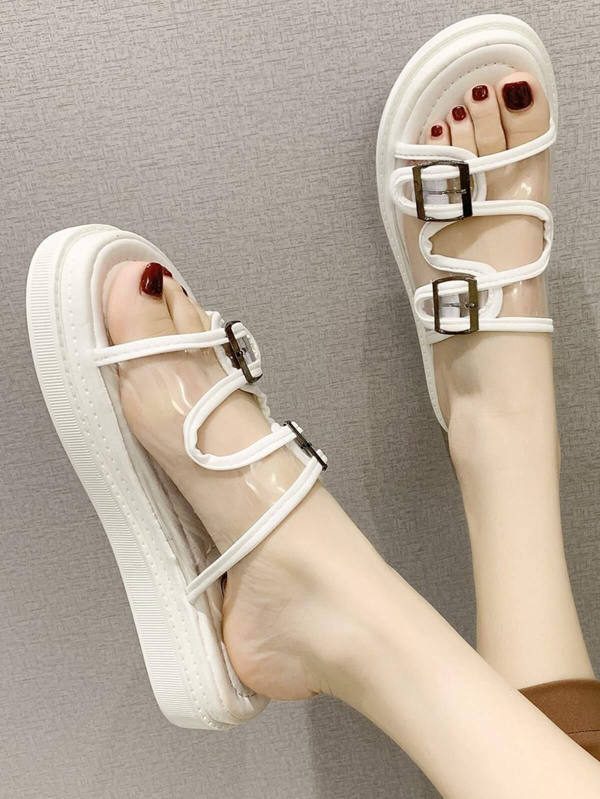Clear Buckle Strap Slide Sandals