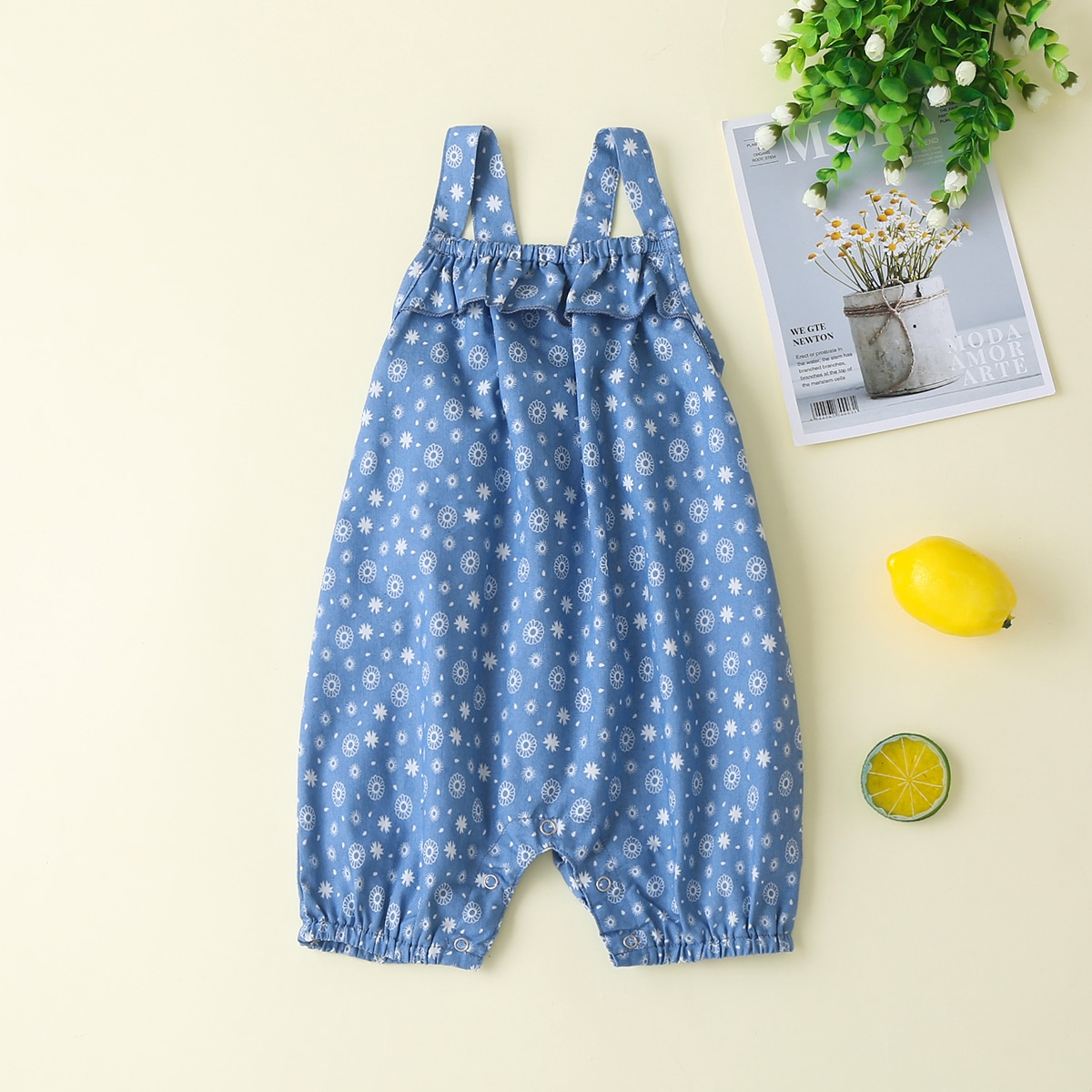 Пыльно-синий с воланами Принт всего тела Деним для малышей от SHEIN