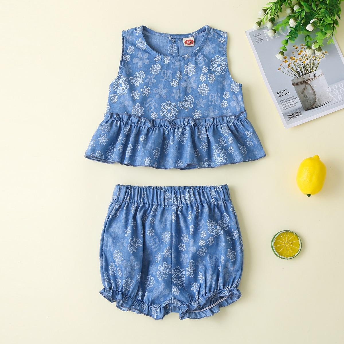 Пыльно-синий Низ-оборка Со цветочками Деним для малышей от SHEIN