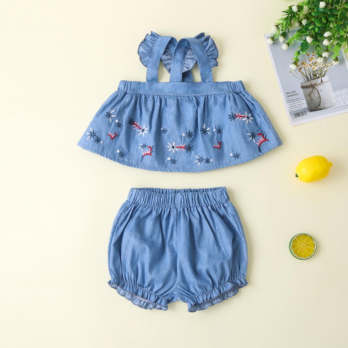 Пыльно-синий с вышивкой Со цветочками Деним для малышей от SHEIN