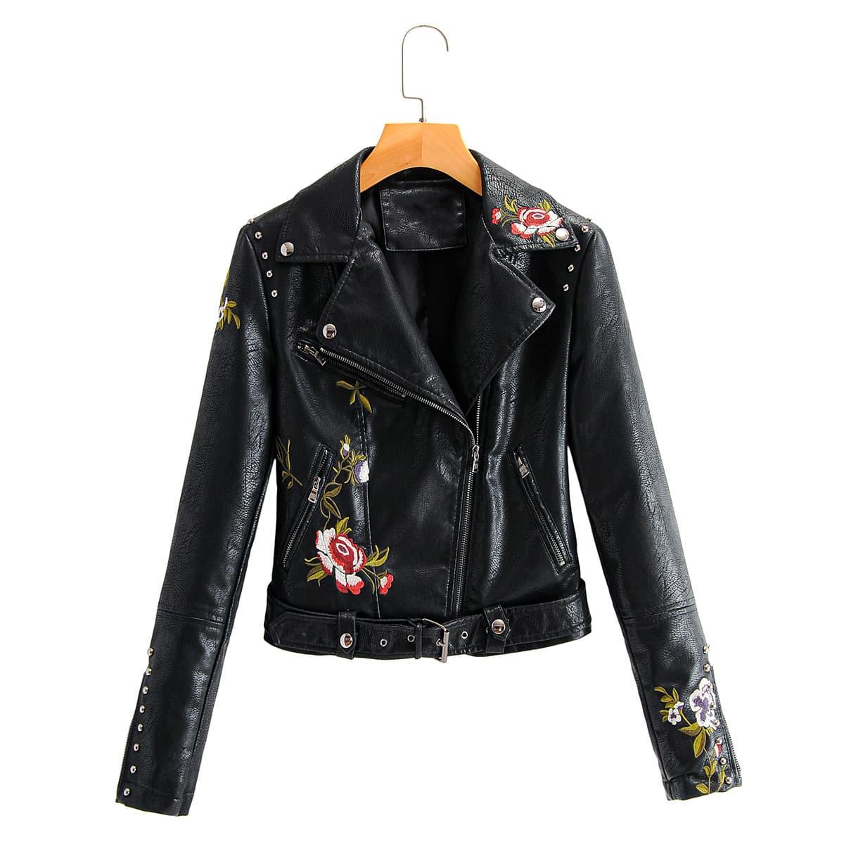 Черный на молнии Цветочный Повседневный Куртки