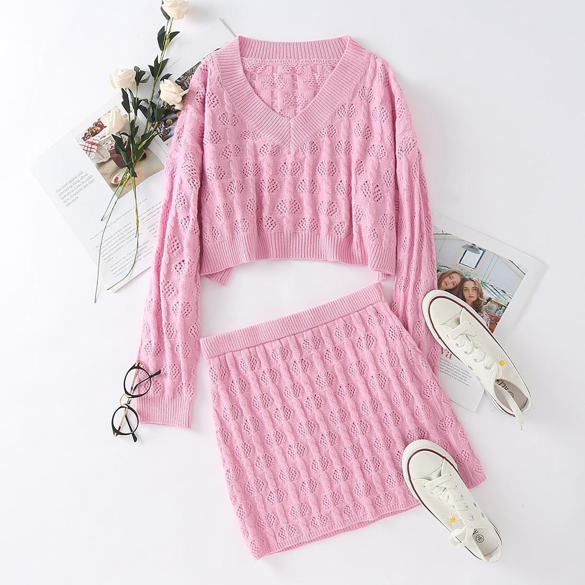 Нежний Розовый Одноцветный Повседневный Трикотаж фото