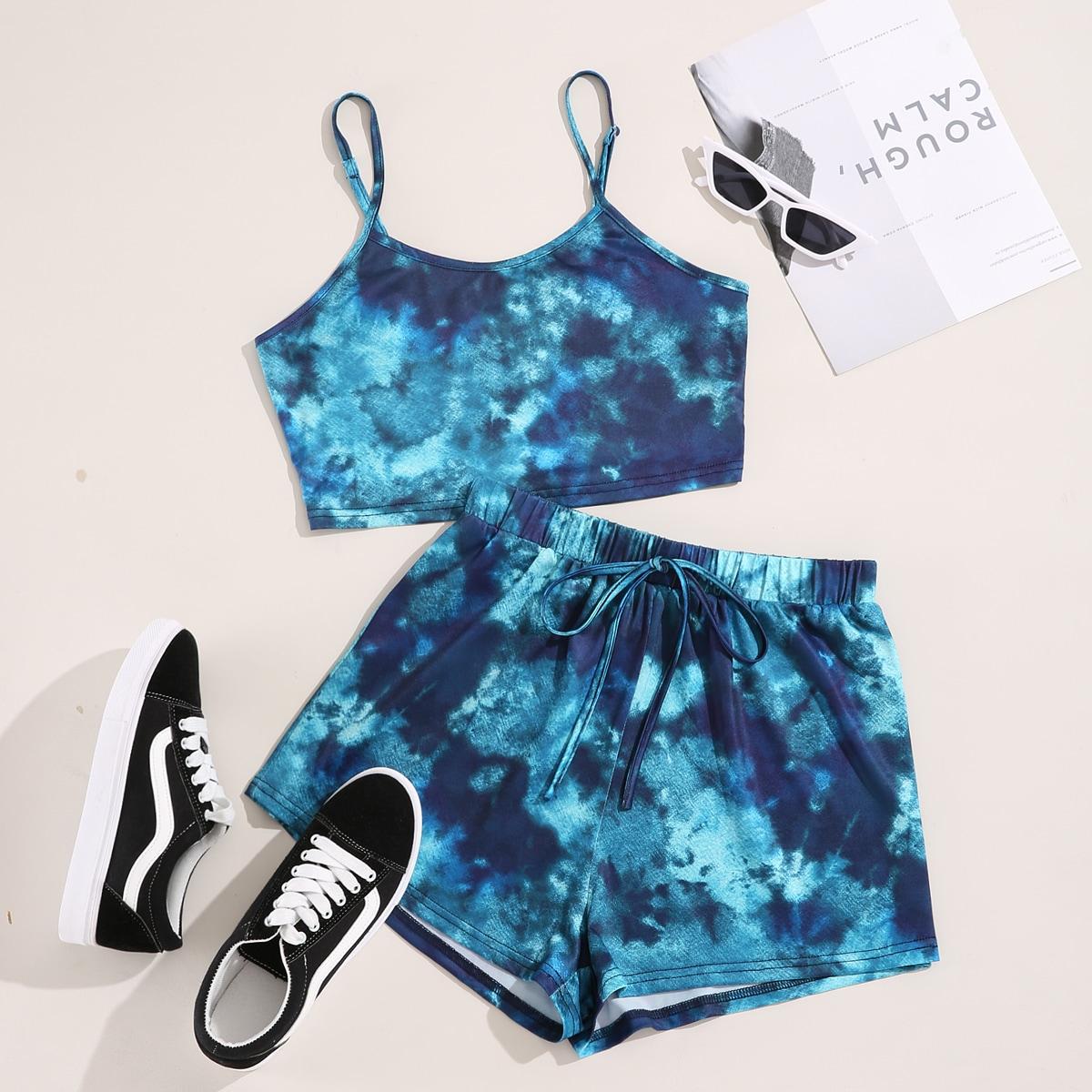 SHEIN / Tie Dye Cami Top & Knot Waist Track Shorts