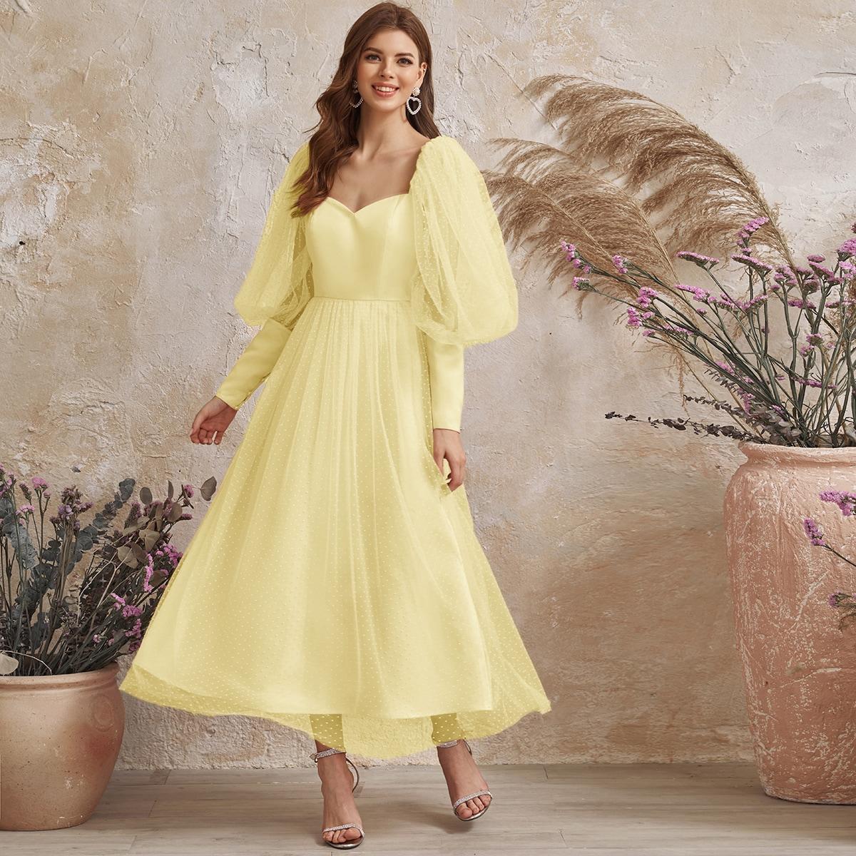 Платье макси с рукавом фонариком фото