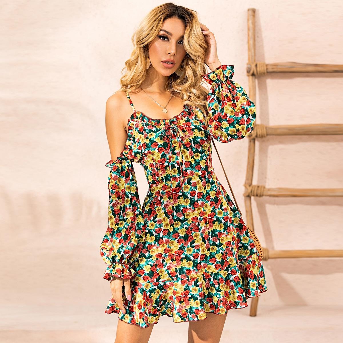Многоцветный с бантом Цветочный принт Бохо Платья фото