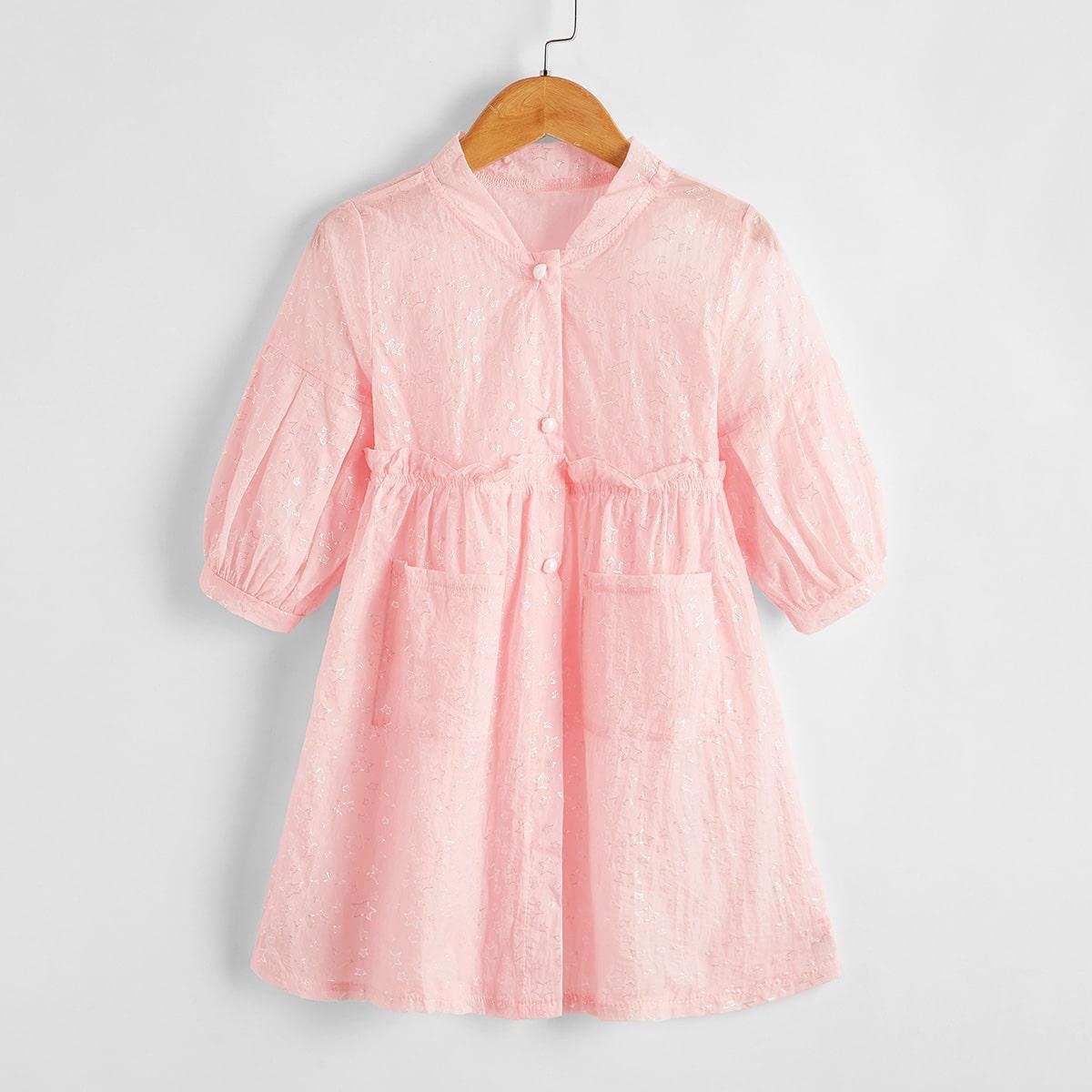 Нежний Розовый с карманами Космический Повседневный Пальто для маленьких девочек от SHEIN