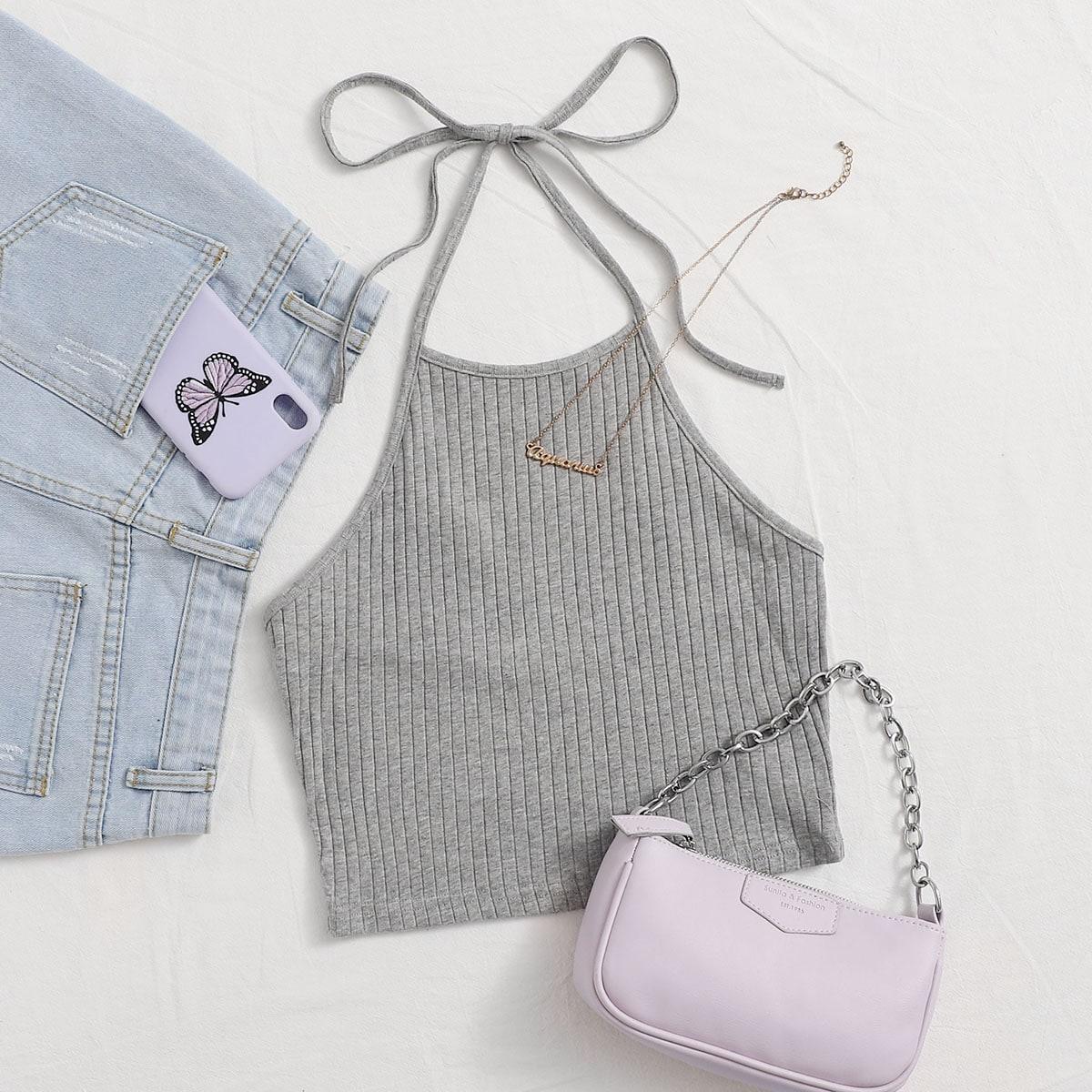 SHEIN / Tie Back Rib-knit Crop Halter Top