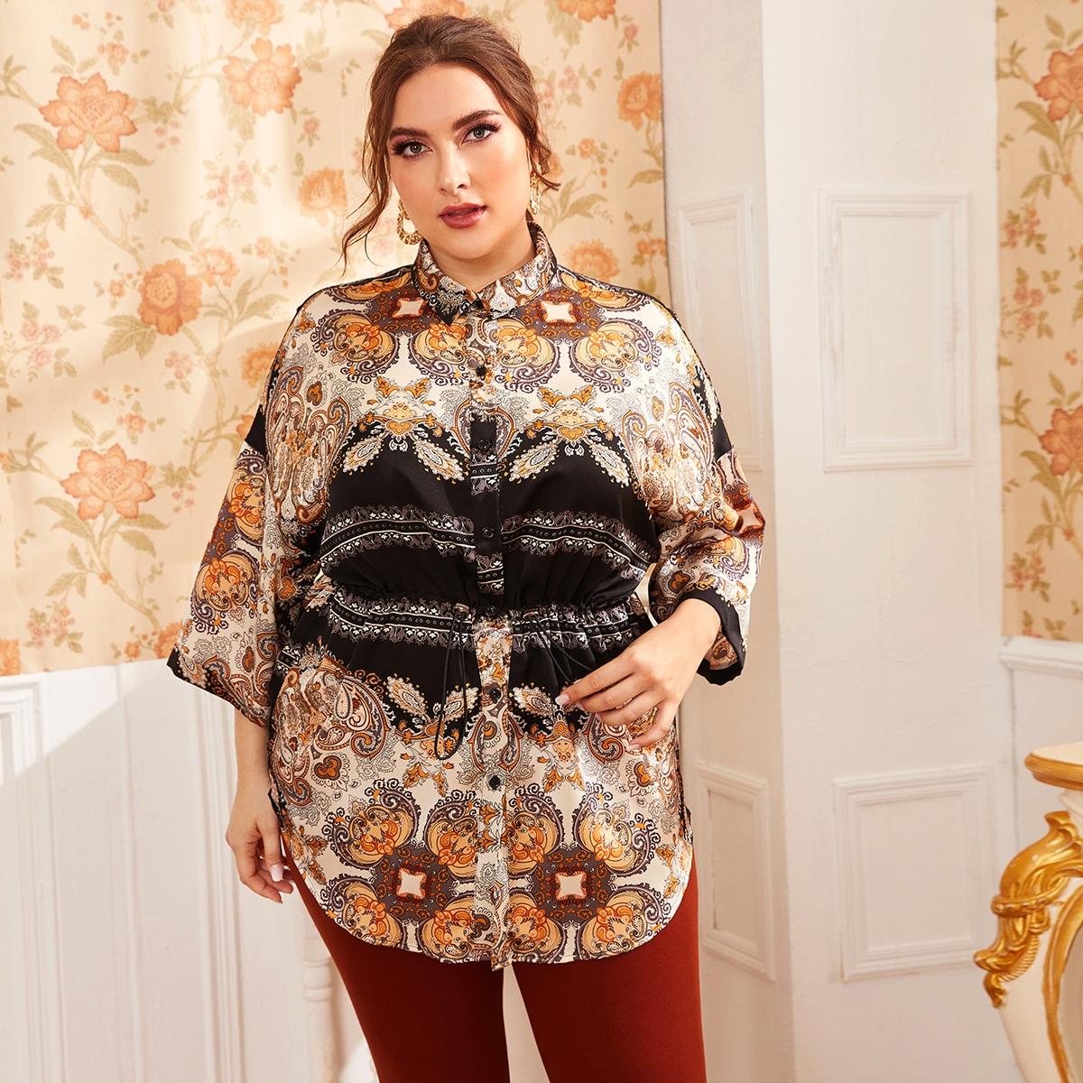 SHEIN / Bluse mit Kordelzug um die Taill und Stamm Muster