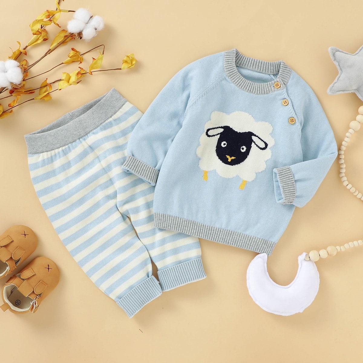 SHEIN / Pullover mit Karikatur Grafik & Pullover Hose mit Streifen