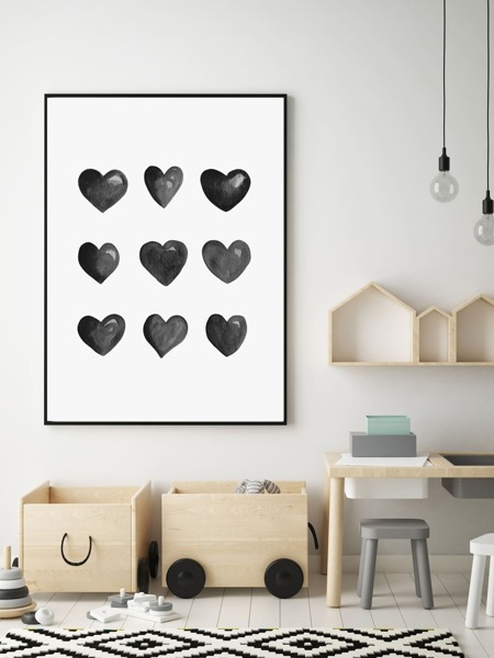 Heart Print Wall Painting Without Frame