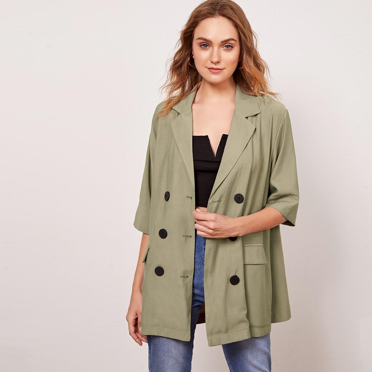 Армейский зеленый Двойная кнопка Ровный цвет Повседневный Пиджаки от SHEIN