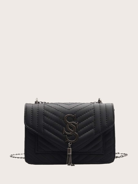 Tassel Decor Stitch Detail Crossbody Bag