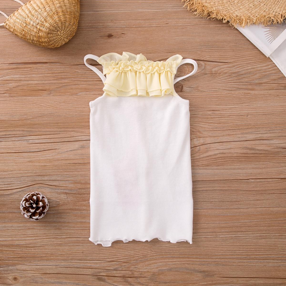 Белый Складки Контрастный цвет Повседневный Футболки для маленьких девочек